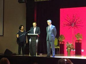 Discours inaugural de Jean-François Piat, en compagnie de la Présidente de l'IFLA Glòria Pérez-Salmerón et du Secrétaire Général, Gerald Leitner
