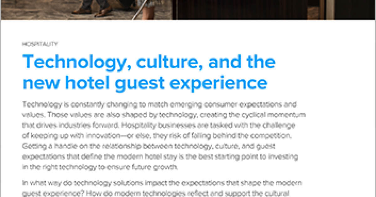 Hospitality technology and trends | White paper | Infor