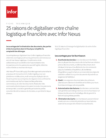 Th 25 reasons to digitize your financial supply chain with Infor Nexus Data Sheet French France 457px