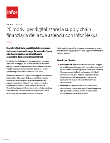 Th 25 reasons to digitize your financial supply chain with Infor Nexus Data Sheet Italian 457px