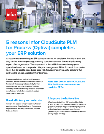 Th 5 reasons Infor CS PLM for Process Optiva completes your ERP solution Flyer English 457px