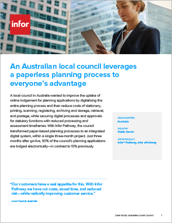 Th An Australian local council realises paperless planning process to everyones advantage Case Study Infor Pathway Infor e Pathway Public Sector Local Council APAC English 457px