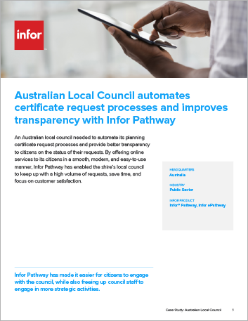 Th Australian Local Council automates certificate request processes and improves transparency with Infor Pathway Case Study Infor Pathway Public Sector Local Council APAC English 457px