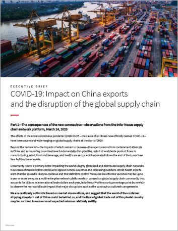 Th COVID 19 Impact on China exports and the disruption of the global supply chain Executive Brief English 457px