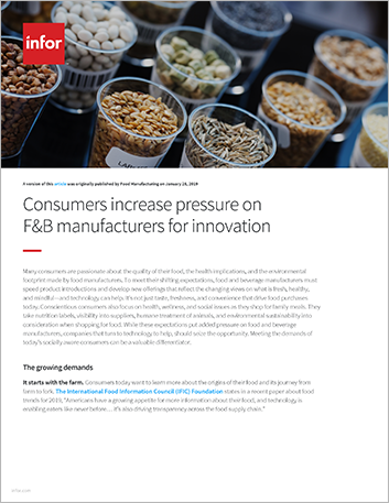 Th Consumers increase pressure on F and B manufacturers for innovation