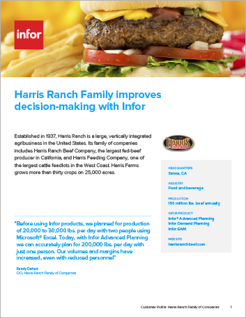 Th Harris Ranch Family of Companies Case Study Infor EAM Enterprise Infor ION Infor Advanced Planning Infor Demand Planning Food Beverage NA English 457px