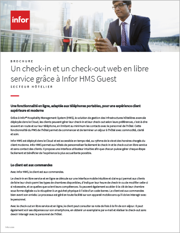 Th Infor HMS Guest Self Service web based check in and check out Brochure French 457px