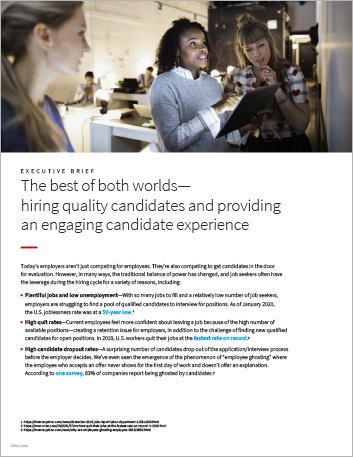 Th The best of both worlds hiring quality candidates and providing an engaging candidate experience Executive Brief English 457px